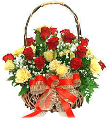 24 Red and Yellow roses Basket