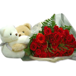 2 Teddies (6 inches) + 6 red roses