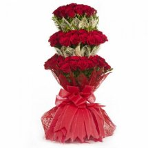 50 Red roses 3 layer bouquet