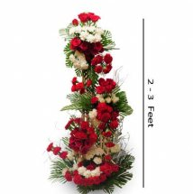 2 to 3 feet 50 red roses 50 white carnations