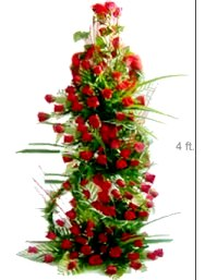 Four Foot Tall Arrangement of 150 Red Roses