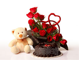 Teddy+ 24 red Roses Basket+1/2 Kg Cake