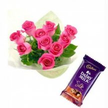 1 Silk chocolate with 8 pink roses