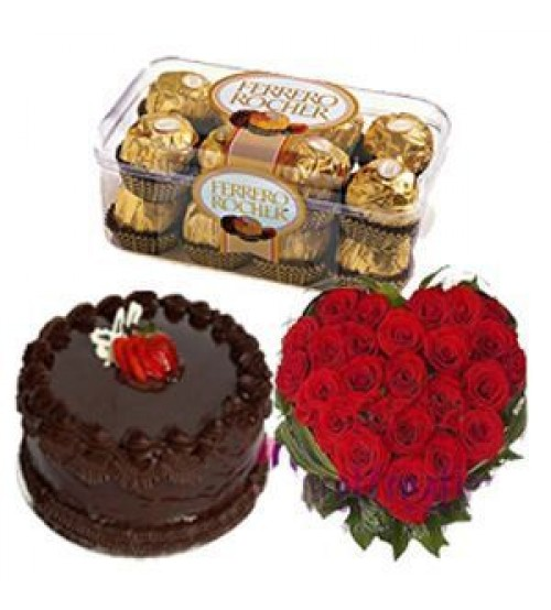 1/2 Kg chocolate cake 25 red roses heart 16 Ferrero chocolates