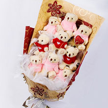 Bouquet of 9 teddies(6 inches each)