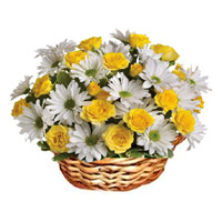 24 Yellow Roses White gerberas basket