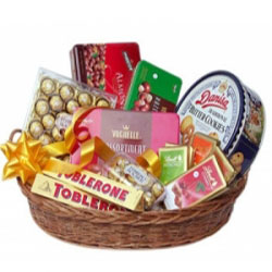 Large chocolate basket with 16 Ferrero Dairy Milk Perk Kitkat Silk Chocobite Cookie Box