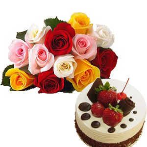 1 Kg Cake with 12 Mix Roses