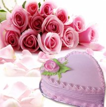 Heart Shaped Strawberry Cake 1 kg 12 Pink roses bouquet