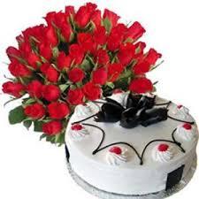 One Kilo Cake and 24 Red roses basket