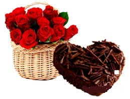 1 Kg Chocolate heart Cake with 12 Red Roses basket
