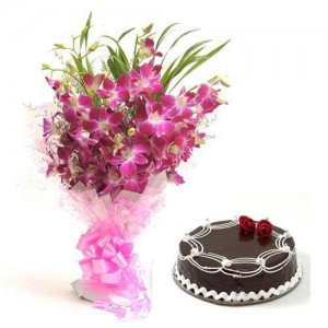 One pound chocolate cake with 10 Purple Orchids bouquet
