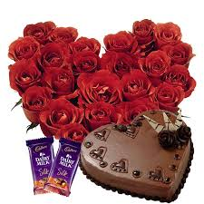 25 red roses Heart 2 Silk chocolates 1 kg Heart chocolate cake