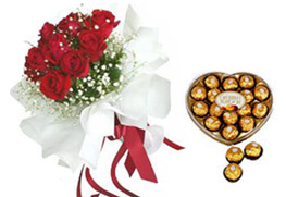 Heart Shaped Chocolate Box+12 Red Roses