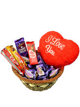 Small chocolate basket with I LOVE YOU valentine heart
