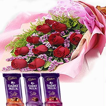 3 Dairy milk silk Chocolates + 12 Red roses bouquet