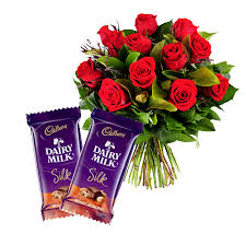 12 Red roses with 2 Cadburys Silk chocolates