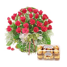 24 Red Roses Basket+ 16 Ferrero Rocher Chocolates