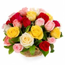 Two Dozen Assorted Color Roses basket