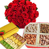1/2 Kg Mix Barfi 1/2 Kg Dry fruits 12 red roses