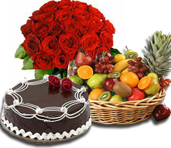 12 red roses+1/2 Kg Cake+ 2 kg Fruits in Basket