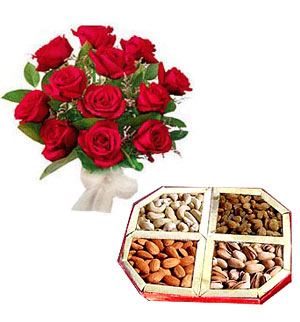 1/2 Kg Assorted Dryfruit 12 red roses