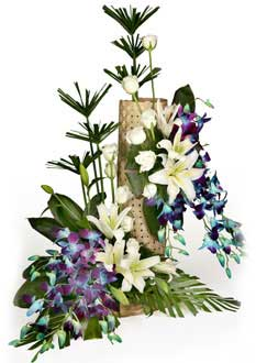 Blue Orchids basket+ White liliums