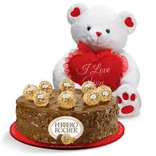 1/2 Kg Ferrero rocher Cake with 6 inch Teddy