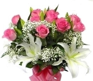 White Liliums Pink roses round Arrangement