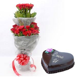 24 Red roses double bouquet with 1 Kg heart chocolate cake
