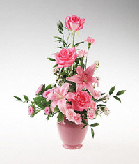 Pink Roses and Lillium in a Vase