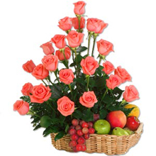 Exotic 12 Pink Roses and 2 kg Fresh Fruits in Basket