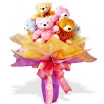 7 Teddies (6 inches) in a bouquet