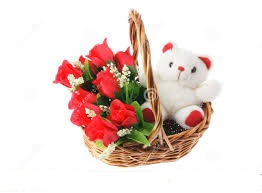 6 Red roses Teddy bear (6 inches) in a basket