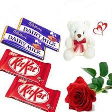 2 Dairy Milk + 2 Kit Kat + Teddy ( 6 Inches) and One Red Rose