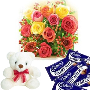 4 Dairy Milk chocolates + Teddy (6 Inch) + 12 Mix Roses bouquet