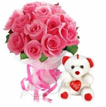 12 pink roses with 6 inches teddy