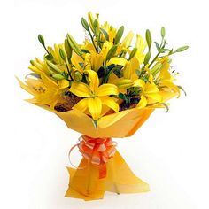 Yellow lilies with yellow paper packing