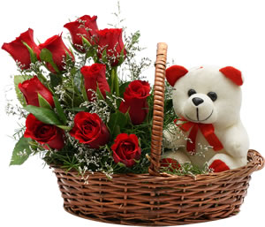 8 Red roses Teddy bear (6 inches) in a basket