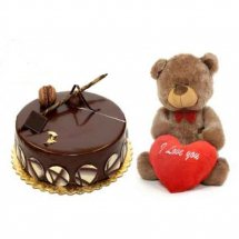 Half Kg chocolate cake with 6 inches Teddy and Valentine Heart