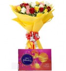 12 Mix roses bouquet with Celebration box