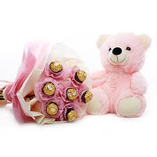 5 Ferrero rocher bouquet with Teddy bear 6 inches