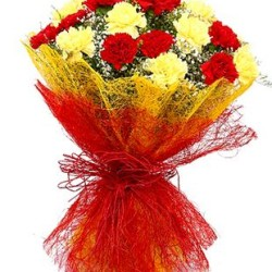 12 Yellow red carnations with Yellow and red paper packing bouquet
