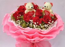 2 Teddy bears(6 inches each) 8 Red roses in same basket