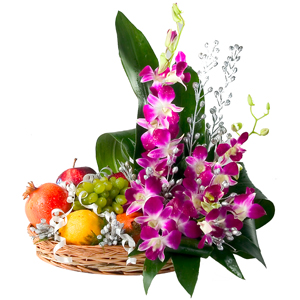 Orchids Flowers and Fruits in same Basket