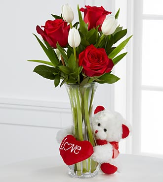 6 red and white roses in vase with Teddy and valentine heart