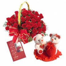 24 Red Roses Basket Card Valentine Heart with 2 Teddies