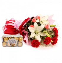 White lilies with red carnations bouquet and 16 Ferrero chocolates