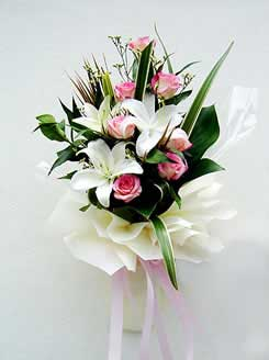 Two Dozen pink Roses with White Liliums