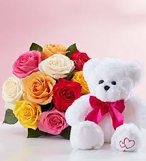 12 Mix Roses Bouquet 6 inches Teddy